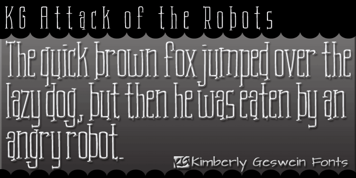 KG Attack of the Robots font by Kimberly Geswein