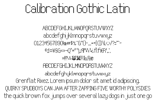 Calibration Gothic NBP Latin font by total FontGeek DTF, Ltd.