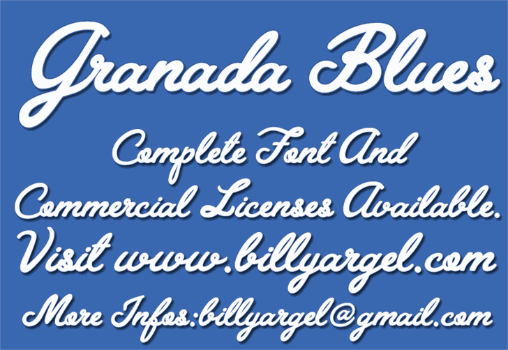 Granada Blues Personal Use font by Billy Argel