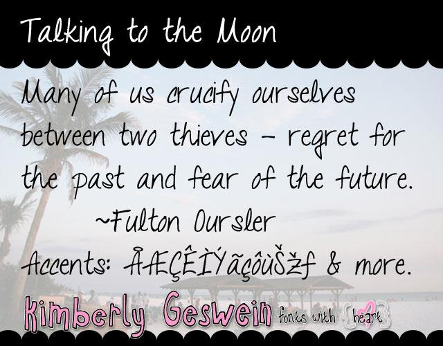 Talking to the Moon font by Kimberly Geswein