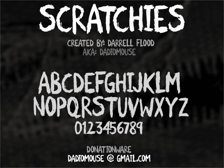 Scratchies font by Darrell Flood