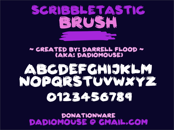 Scribbletastic Brush font by Darrell Flood