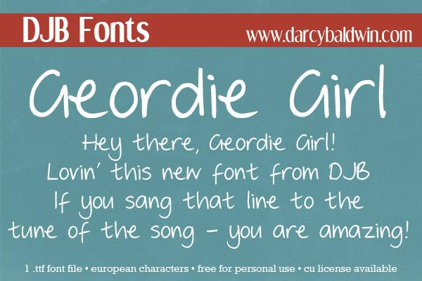 DJB GEORDIE GIRL font by Darcy Baldwin Fonts