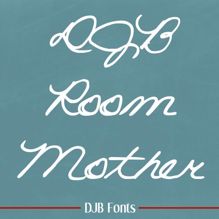 DJB ROOM MOTHER script font by Darcy Baldwin Fonts
