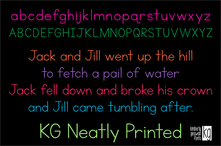 KG Neatly Printed font by Kimberly Geswein
