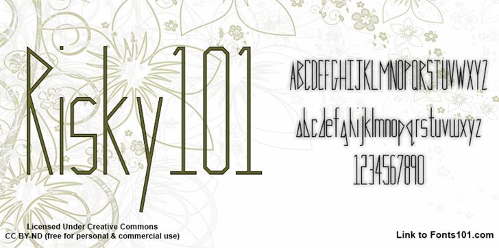 Risky 101 font by Fonts101