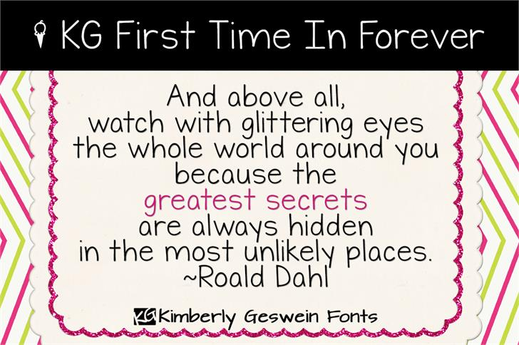 KG First Time In Forever font by Kimberly Geswein