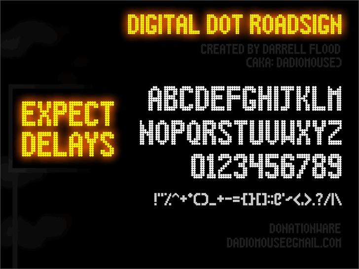 Digital Dot Roadsign font by Darrell Flood