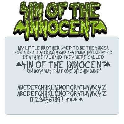 sin of the innoccent font by Press Gang Studios