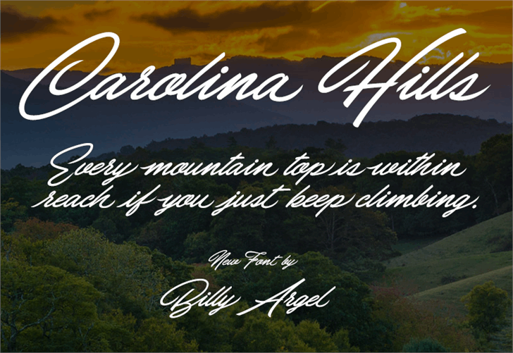 Carolina Hills Personal Use font by Billy Argel