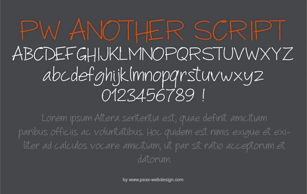 PWAnotherScript font by Peax Webdesign