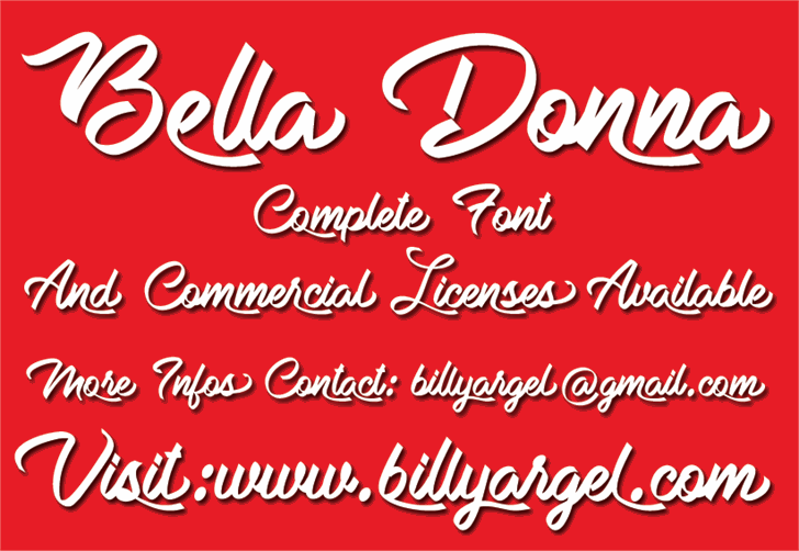 Bella Donna Personal Use font by Billy Argel