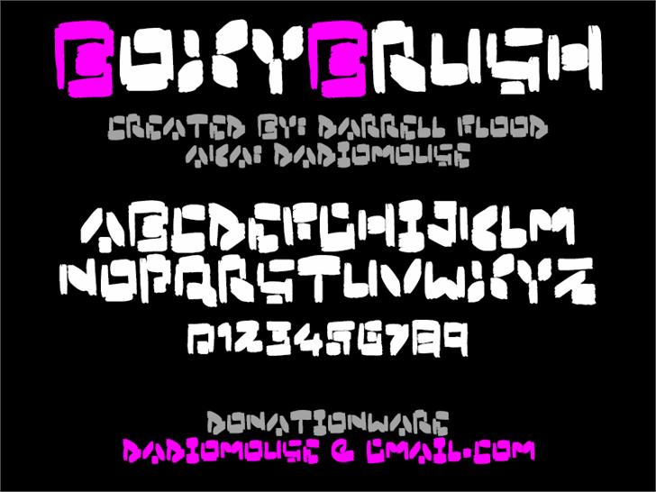 Boxybrush font by Darrell Flood