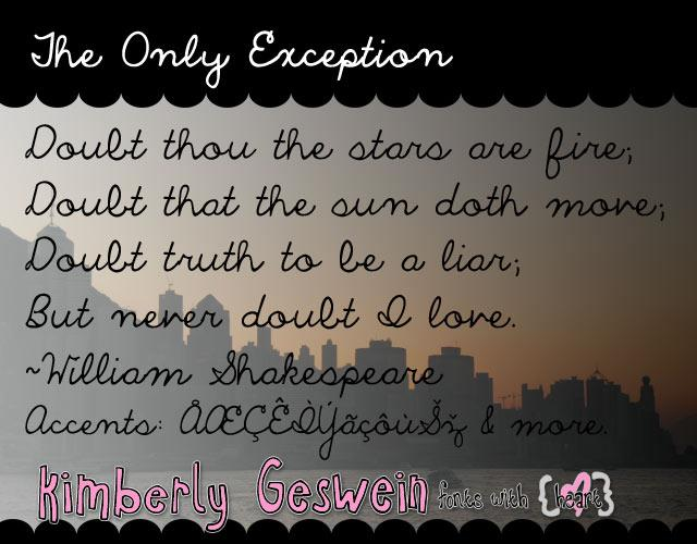The Only Exception font by Kimberly Geswein