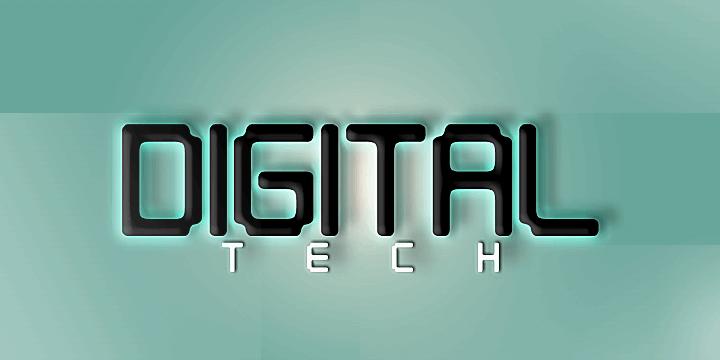 Digital tech font by Qbotype Fonts