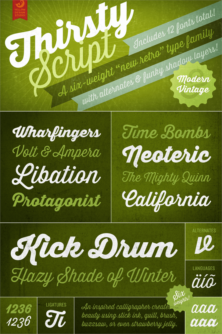 Thirsty Script Extrabold Demo font by Yellow Design Studio