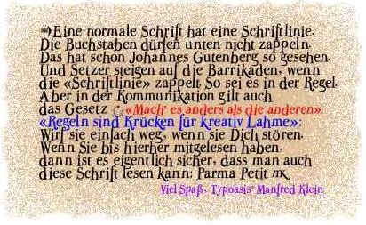 ParmaPetitNormal font by Manfred Klein