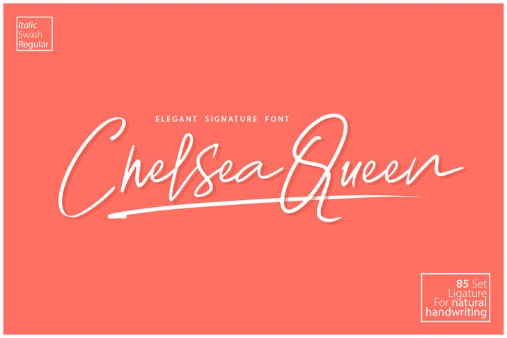 Chelsea Queen Demo font by D&K_Project