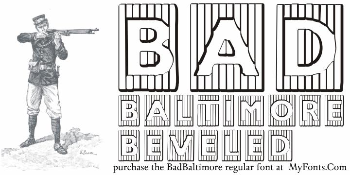 BadBaltimore Beveled font by Intellecta Design