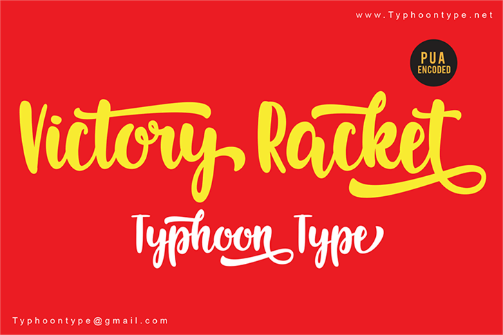 Victory Racket - Personal Use font by Typhoon Type - Suthi Srisopha