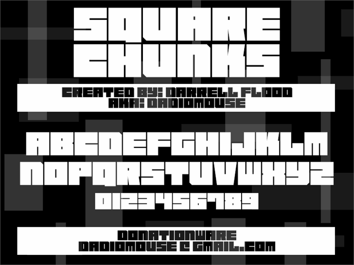Square Chunks font by Darrell Flood