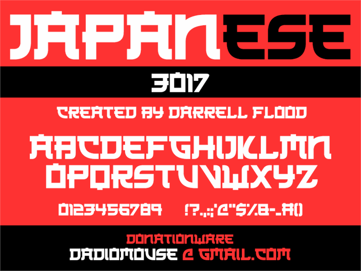 Japanese 3017 font by Darrell Flood