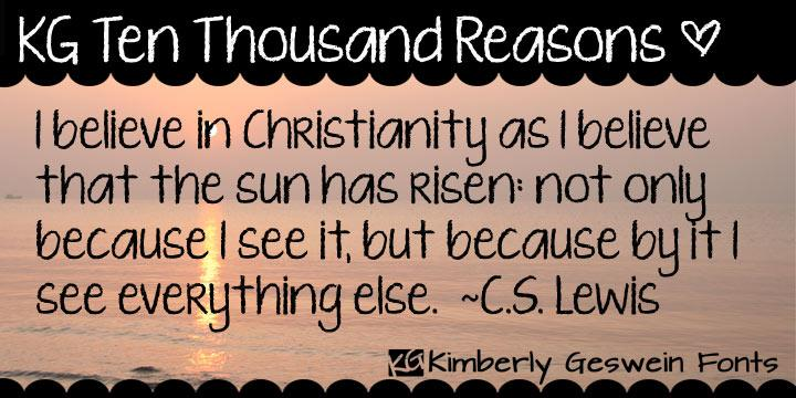 KG Ten Thousand Reasons font by Kimberly Geswein
