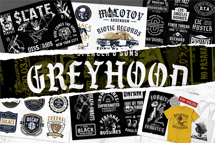 S&S GreyHood Seven font by Spencer & Sons Co.