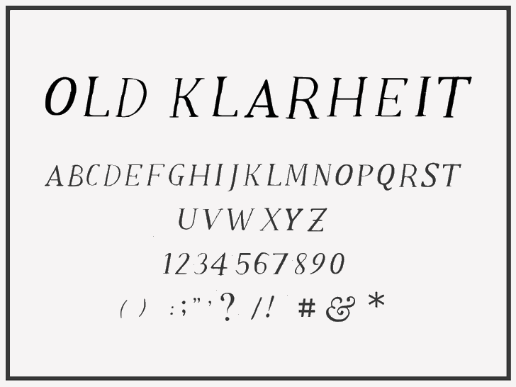 Old Klarheit font by Vasudha