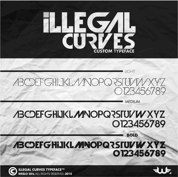 Illegal Curves font by weslo