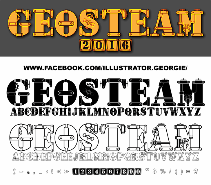 geosteam font by Illustrator Georgie Retzer