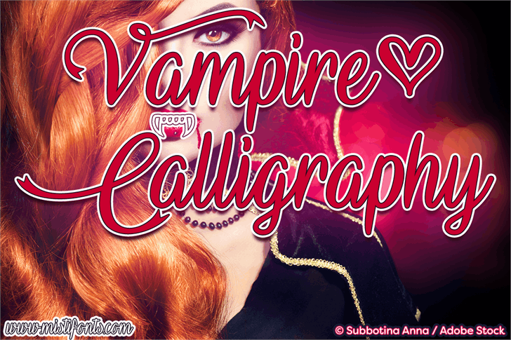 Vampire Calligraphy font by Misti's Fonts
