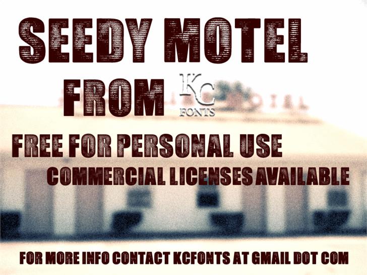 Seedy Motel font by KC Fonts