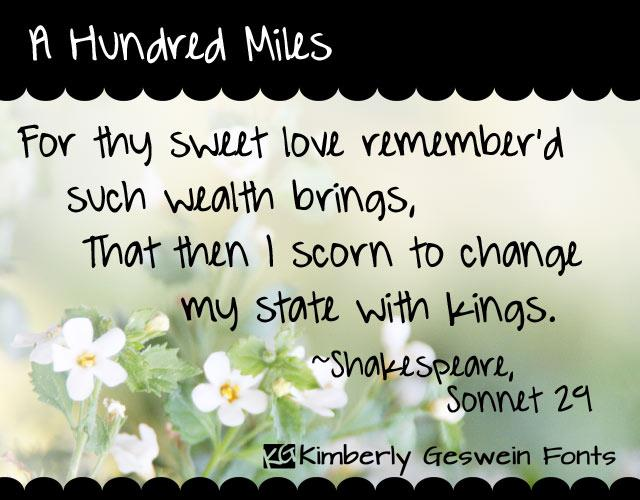 A Hundred Miles font by Kimberly Geswein