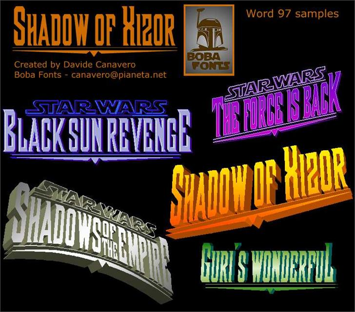 Shadow of Xizor font by Boba Fonts