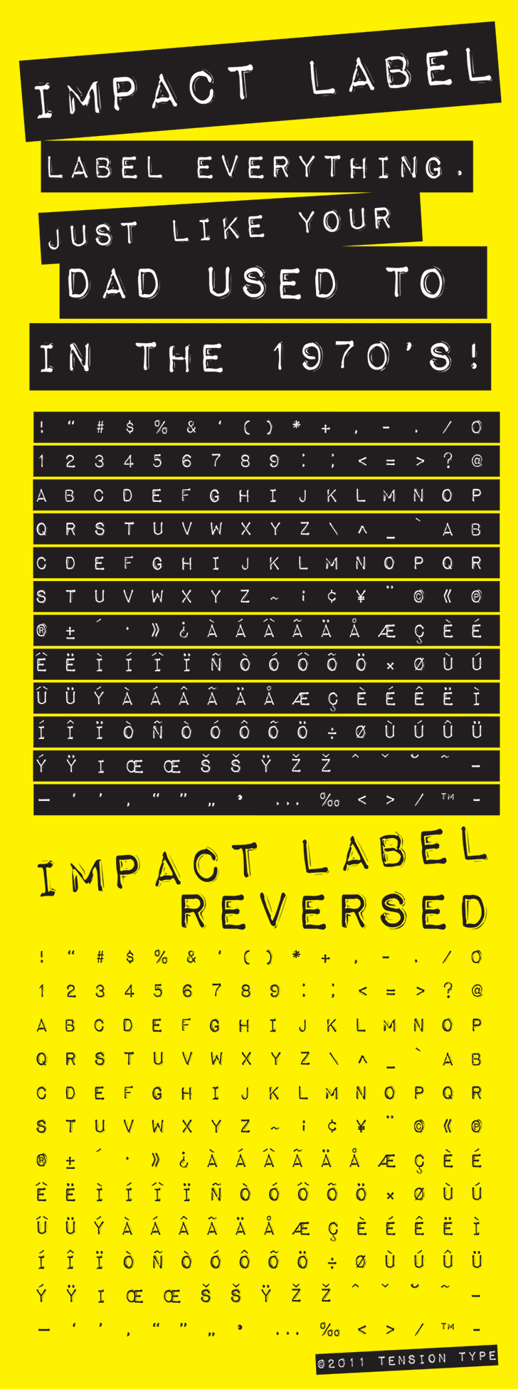 Impact Label font by Tension Type