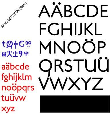 Sans Between font by Manfred Klein