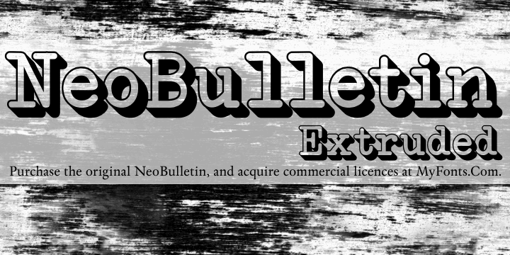 NeoBulletin Extruded font by Intellecta Design