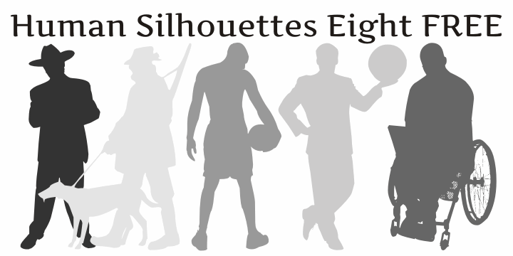 Human Silhouettes Free Eight font by Intellecta Design