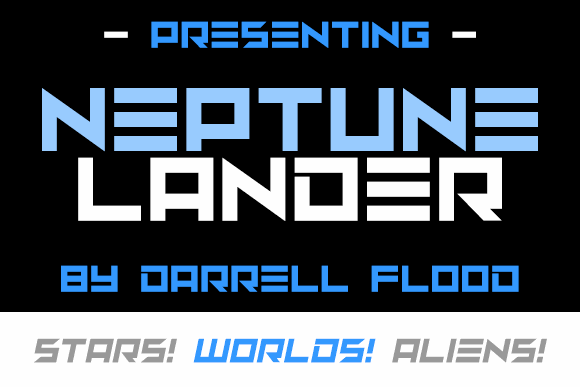 Neptune Lander font by Darrell Flood