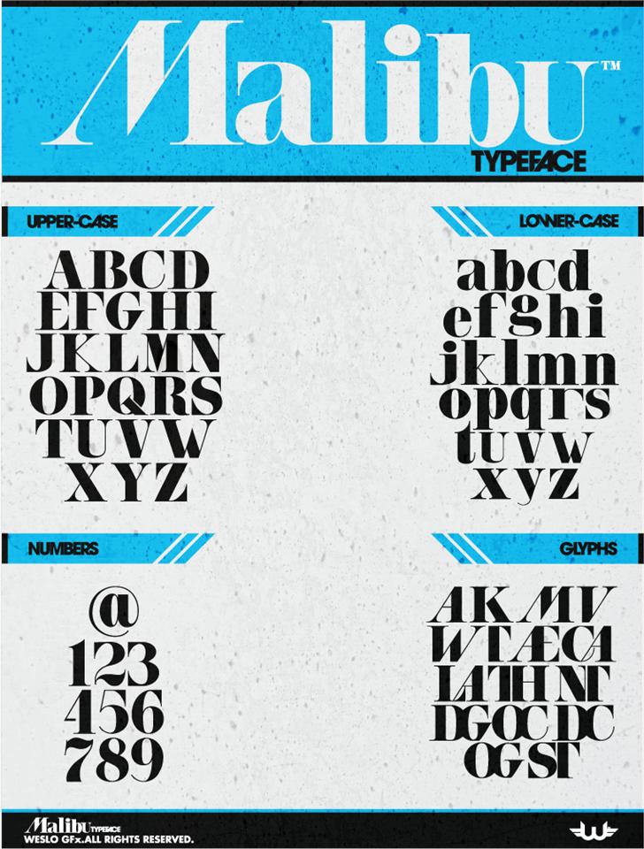 Malibu font by weslo