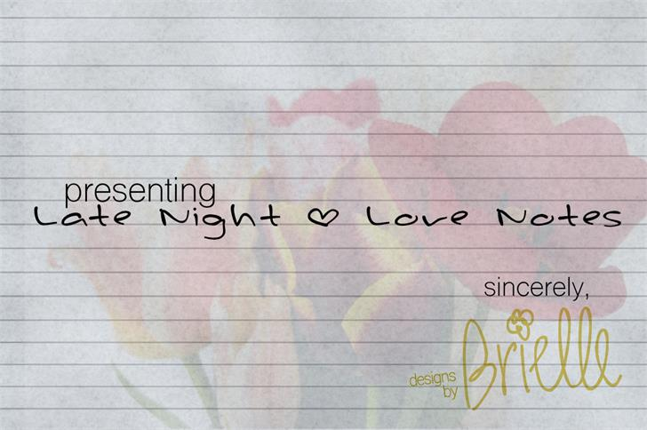 Late Night * Love Notes font by Designs by Brielle