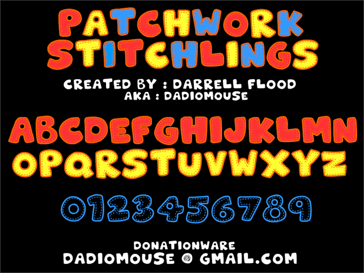 Patchwork Stitchlings font by Darrell Flood