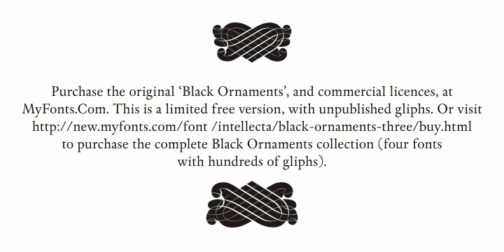 Black Ornaments Free font by Intellecta Design