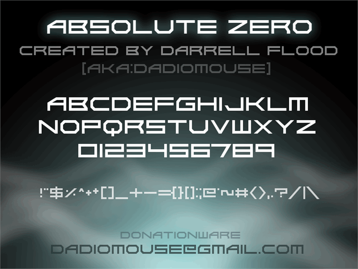 Absolute Zero font by Darrell Flood