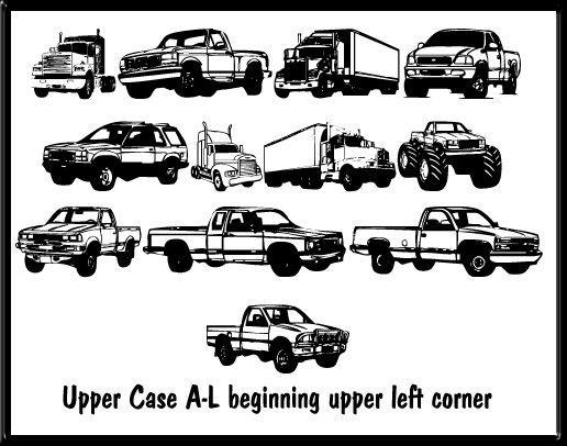 Trucks for Judy *S* font by Moonlight Designs