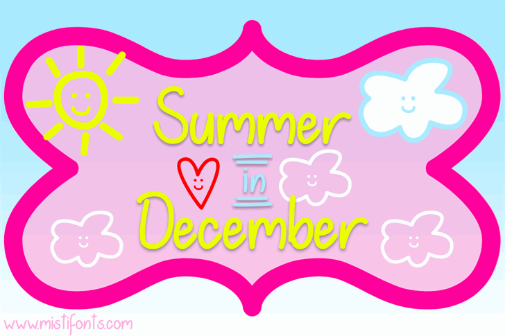 Summer in December font by Misti's Fonts