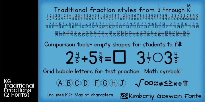 KG Traditional Fractions font by Kimberly Geswein
