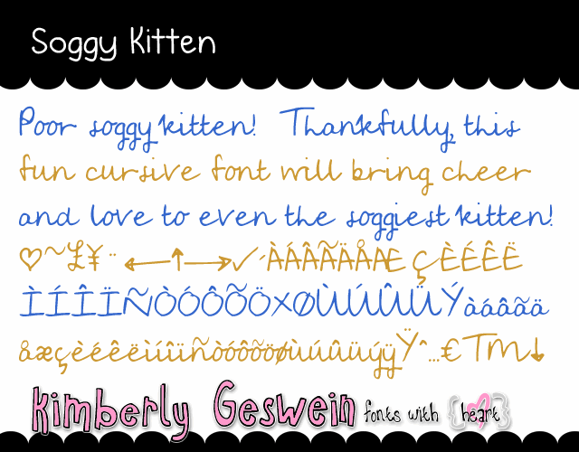 Soggy Kitten font by Kimberly Geswein
