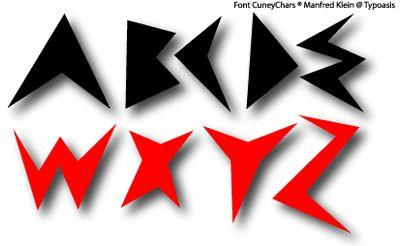 Cuney Chars font by Manfred Klein